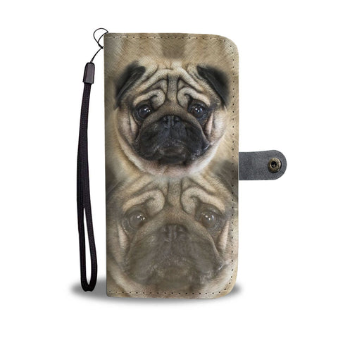 Pug Dog Face Print Wallet Case-Free Shipping
