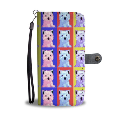 West Highland White Terrier (Westie) Pattern Print Wallet Case-Free Shipping