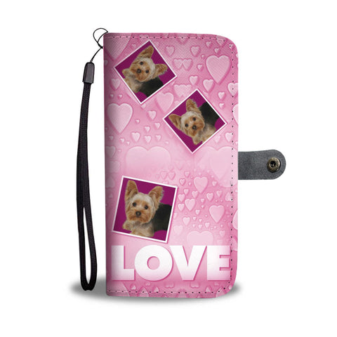 Cute Yorkie With Love On Pink Print Wallet Case-Free Shipping