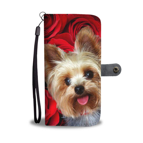 Yorkshire Terrier On Red Print Wallet Case- Free Shipping