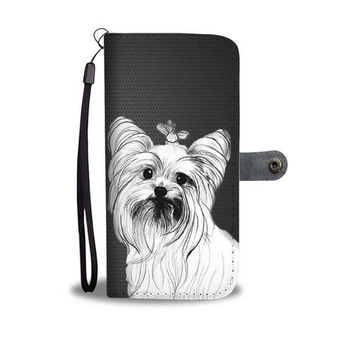 Yorkie Sketch Print Wallet Case-Free Shipping