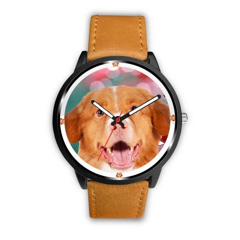 Nova Scotia Duck Tolling Retriever Dog On Red Print Wrist watch - Free Shipping