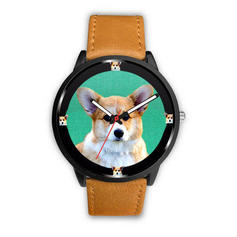 Pembroke Welsh Corgi Dog On Lite Green Print Wrist watch - Free Shipping