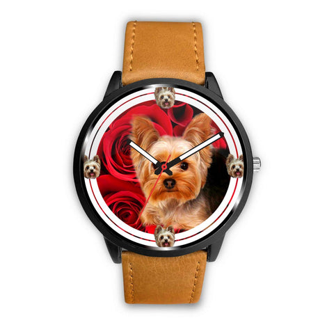 Yorkie (Yorkshire Terrier) On Red Print Wrist Watch-Free Shipping