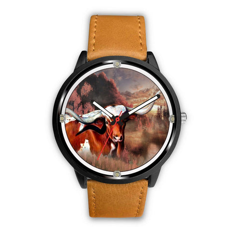 Texas Longhorn Cattle (Cow) Print Wrist Watch - Free Shipping