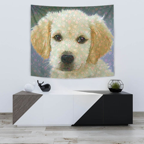 Golden Retriever Puppy Art Print Tapestry-Free Shipping