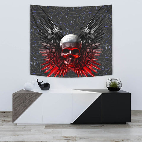 Gun And Skull Print Limited Edition Tapestry-Free Shipping