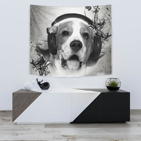 Beagle With Headphones Print Tapestry-Free Shipping