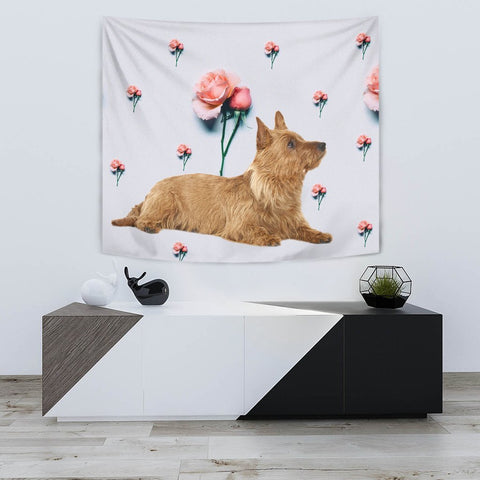 Australian Terrier With Rose Print Tapestry-Free Shipping