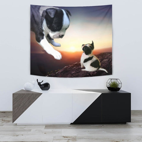 Lovely Boston Terrier Print Tapestry-Free Shipping