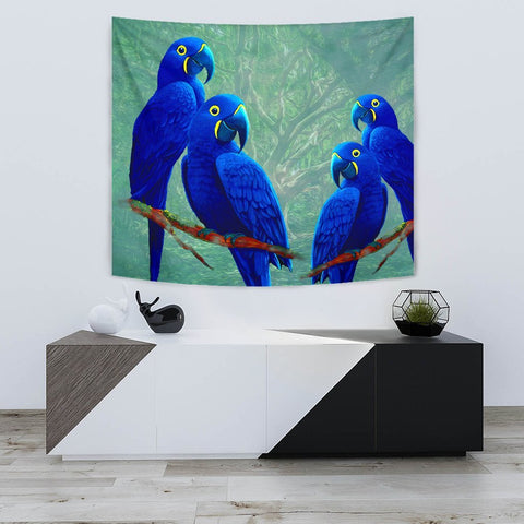 Hyacinth Macaw Parrot Print Tapestry-Free Shipping