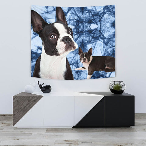 Boston Terrier On Blue Print Tapestry-Free Shipping