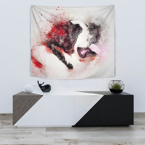 St Bernard Dog Watercolor Painting Print Tapestry-Free Shipping