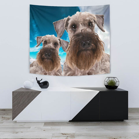 Cesky Terrier Sky Blue Print Tapestry-Free Shipping