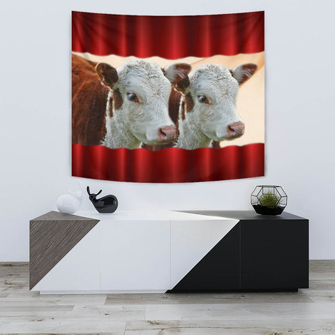 Cute Hereford cattle (cow) Print Tapestry-Free Shipping