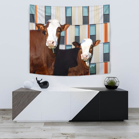 Simmental Cattle (Cow) Print Tapestry-Free Shipping