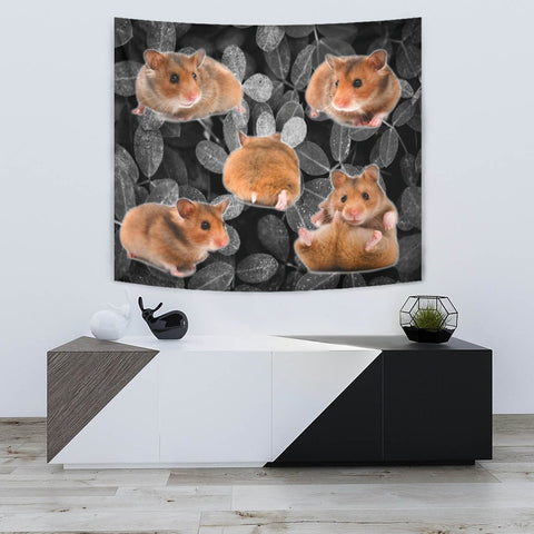 Djungarian Hamster On Black Print Tapestry-Free Shipping