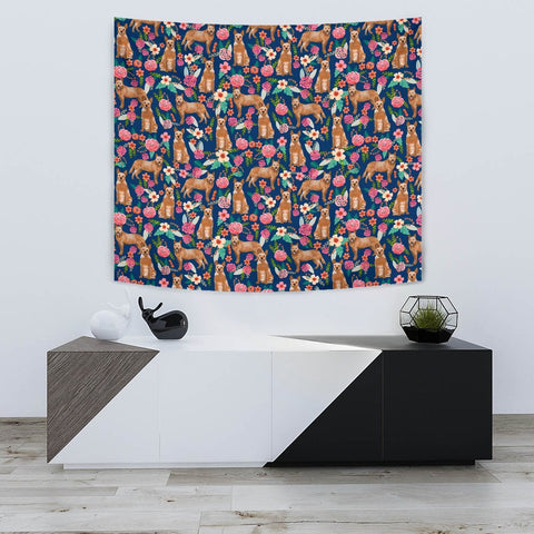 Australian Cattle Dog Floral Print Tapestry-Free Shipping
