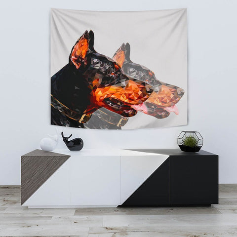 Doberman Pinscher Dog Vector Art Print Tapestry-Free Shipping