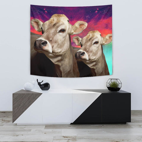 Brown Swiss Cattle (Cow) Print Tapestry-Free Shipping