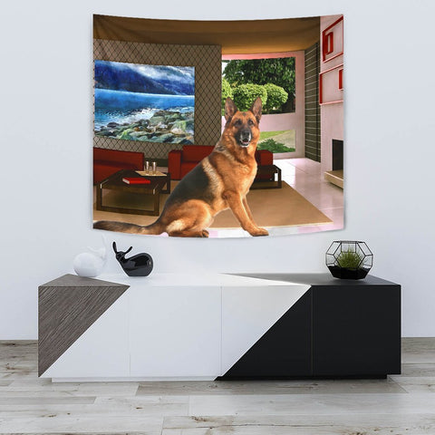 German Shepherd Dog In House Print Tapestry-Free Shipping