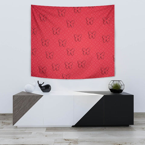 Butterfly Print On Red Tapestry-Free Shipping