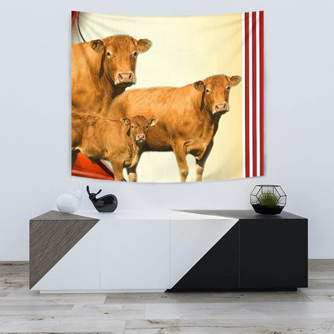Limousin Cattle (Cow) Print Tapestry-Free Shipping