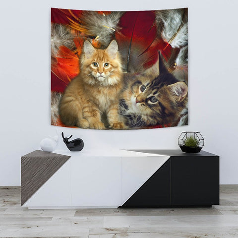 Maine Coon Cat Print Tapestry-Free Shipping
