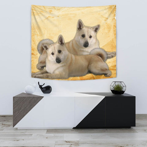 Norwegian Elkhound On Yellow Print Tapestry-Free Shipping
