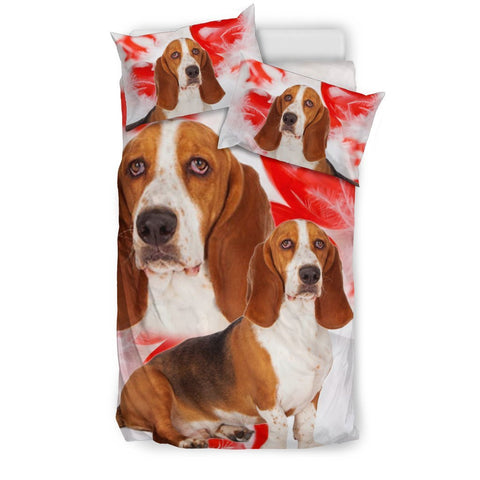 Basset Hound On Red Print Bedding Set- Free Shipping