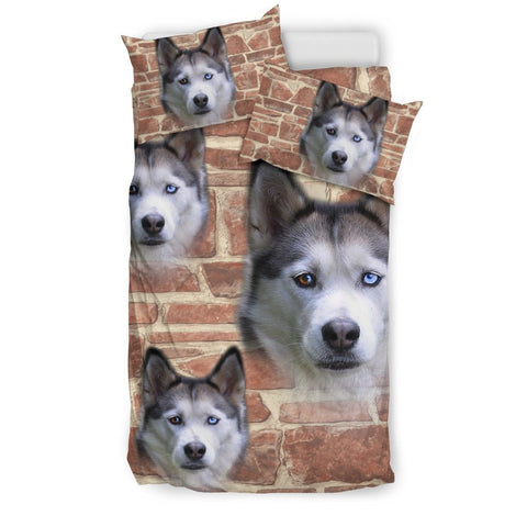 Cute Siberian Husky Dog Print Bedding Set- Free Shipping