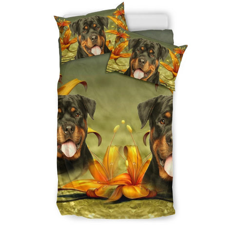 Cute Rottweiler Dog Print Bedding Set- Free Shipping