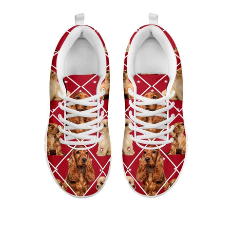 Amazing Cocker Spaniel Dog In Red Boxes Print Running Shoes For Women-Free Shipping-For 24 Hours Only