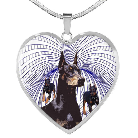 Amazing Doberman Pinscher Print Heart Pendant Luxury Necklace-Free Shipping