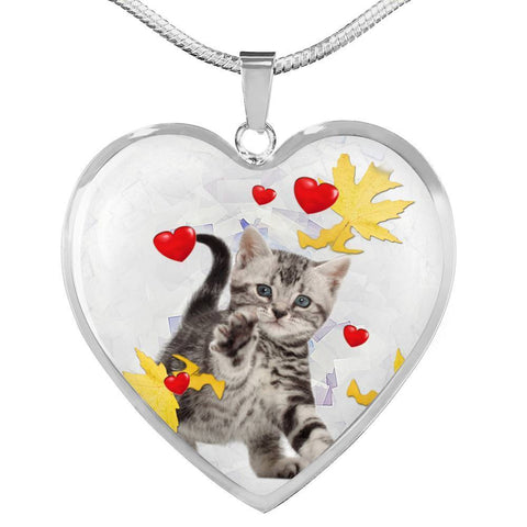 American Shorthair Print Heart Pendant Luxury Necklace-Free Shipping