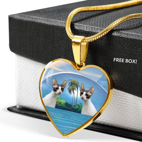 Cornish Rex Cat Print Heart Pendant Luxury Necklace-Free Shipping
