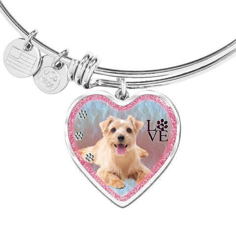 Norfolk Terrier Dog Heart Pendant Bangle-Free Shipping