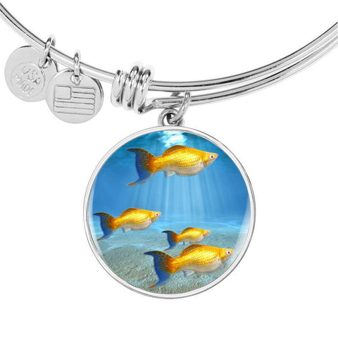 Common Molly Fish Print Circle Pendant Luxury Bangle-Free Shipping