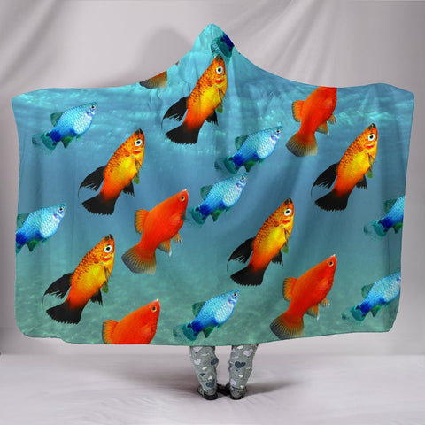 Platy Fish Print Hooded Blanket-Free Shipping