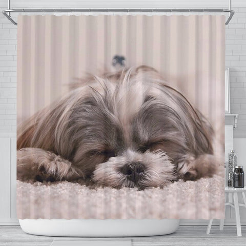Cute Shih Tzu Dog Print Shower Curtains-Free Shipping