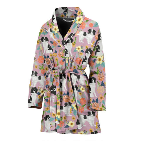 Japanese Chin Dog Pattern Print Women's Bath Robe-Free Shipping