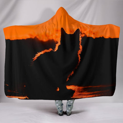 Amazing Cat Shadow Print Hooded Blanket-Free Shipping