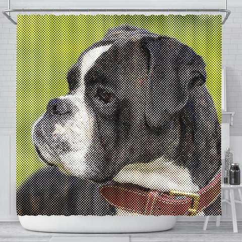 Boxer Dog Dotted Art Dog Print Shower Curtains-Free Shipping