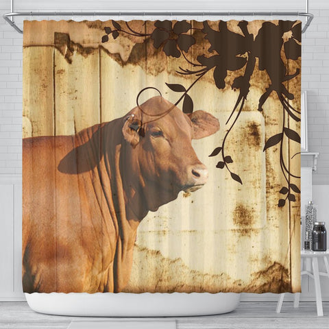 Red Brangus Cattle Print Shower Curtain-Free Shipping