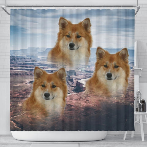 Icelandic Sheepdog Print Shower Curtains-Free Shipping
