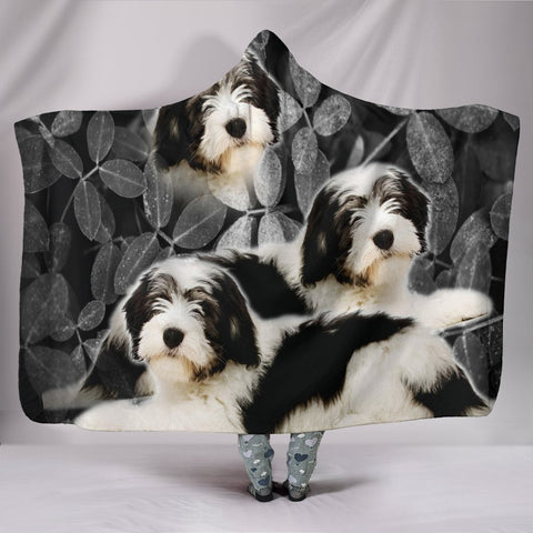 Lovely Polish Lowland Sheepdog Print Hooded Blanket-Free Shipping