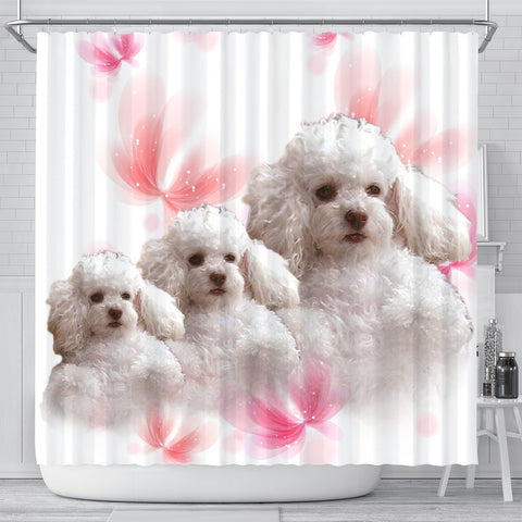 Cute Poodle Dog Print Shower Curtains-Free Shipping
