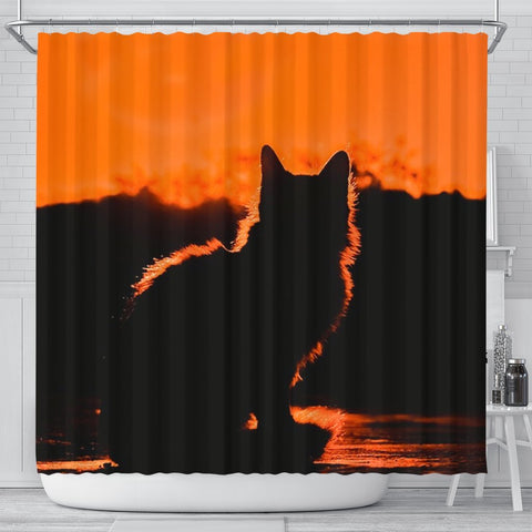 Cat Shadow Print Shower Curtain-Free Shipping