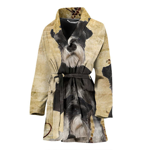 Cute Miniature Schnauzer Print Women's Bath Robe-Free Shipping