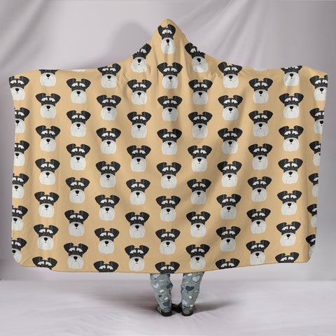 Miniature Schnauzer Pattern Print Hooded Blanket-Free Shipping
